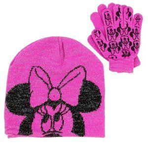 🎁✨Pink Disney Minnie Mouse Winter Hat & Glove Set